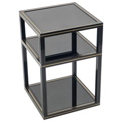 3-Tiers Side Table Black Opaline Glass by Pierre Vandel, 1970s