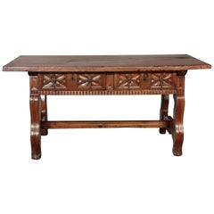 Carved 17th Century Two-Drawer Spanish Library Table