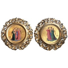 "Pair of Antique Hand Carved Giltwood Venetian Icons Painting, ""Host of Angels"""