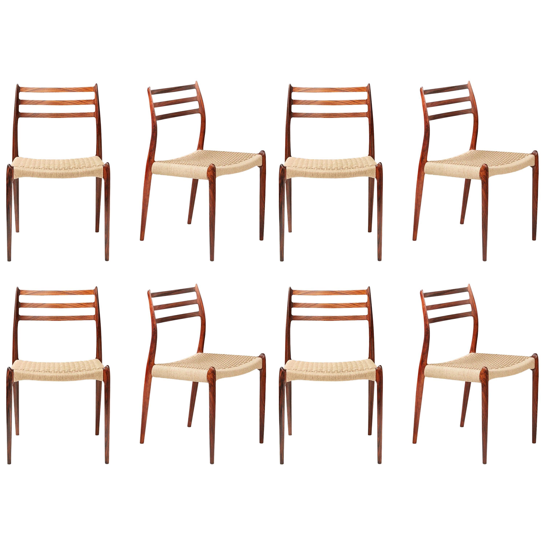 Niels Møller Model 78 Rosewood Papercord Chairs