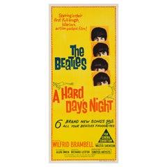 """Beatles """"Hard Day's Night"""" Vintage Australian Daybill Movie Poster, 1964"""