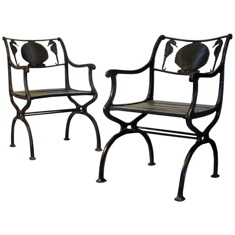 Antique American Cast Iron Sea Horse and Scallop Shell Design Garden Chairs For Sale