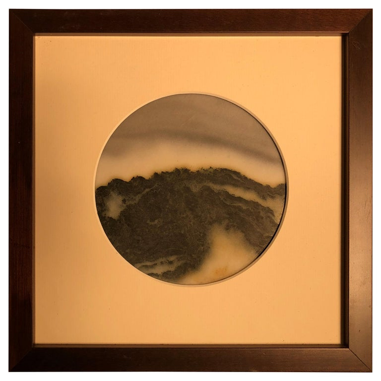 Chinese Extraordinary Mountain Top Painting, One of a Kind Natural Stone For Sale