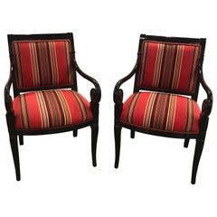 Pair of Hollywood Regency Neoclassical Armchairs