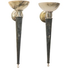 Pair of Atelier Petitot Art Deco Sconces, Alabaster, Silver Plate and Bone