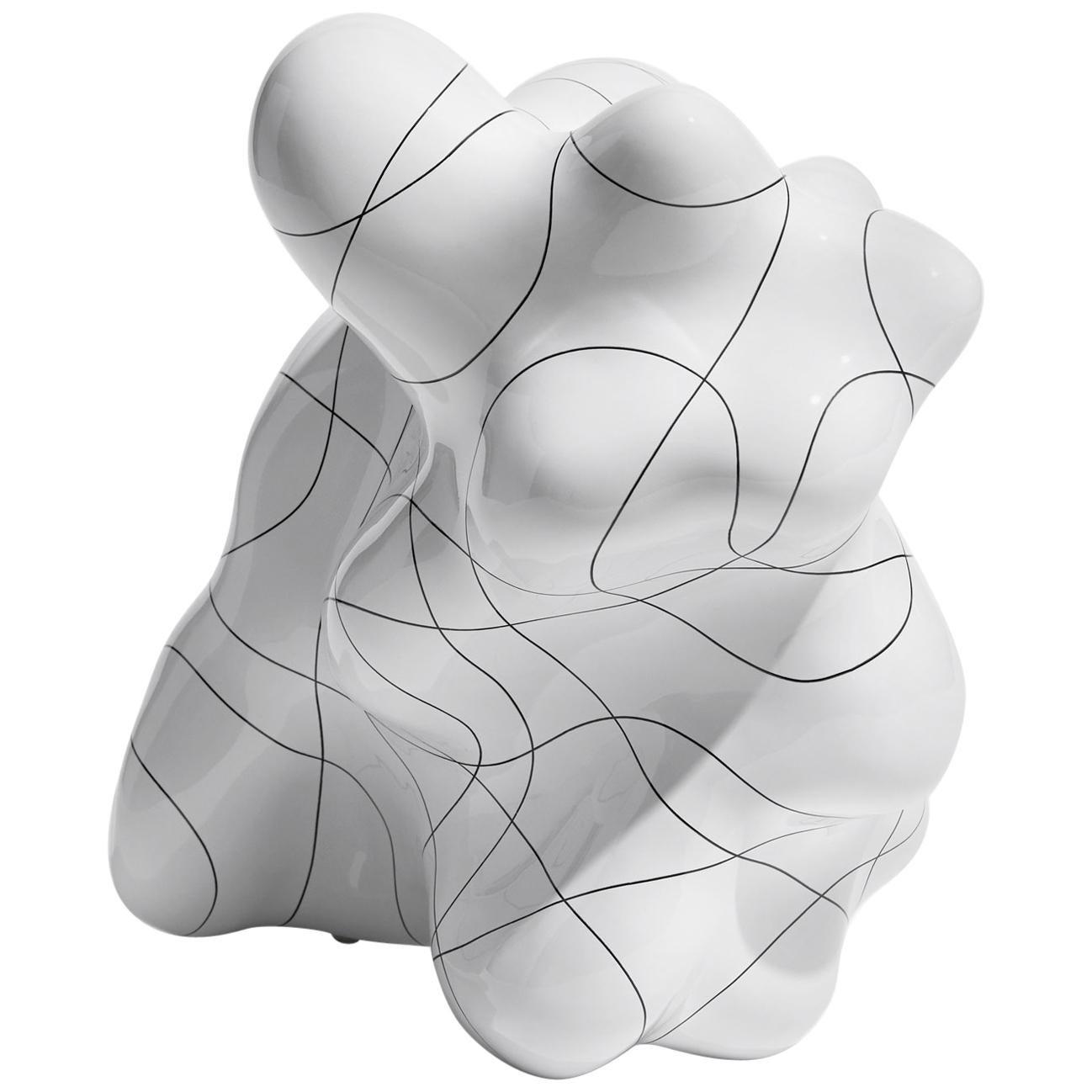 White Contemporary Ceramic Sculpture by Steen Ipsen