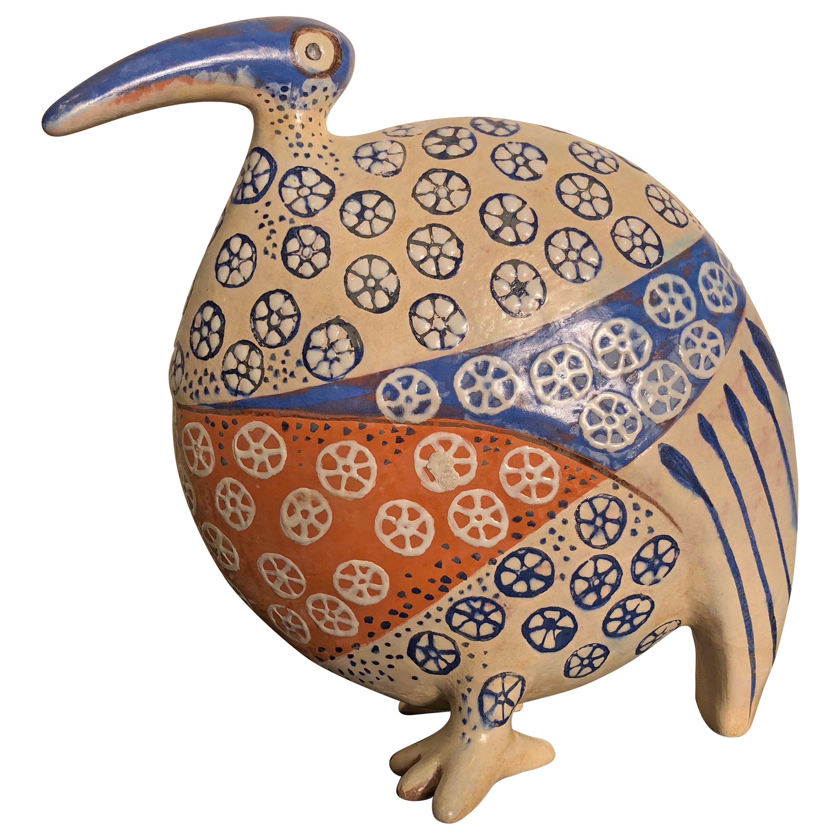Big Beautiful Blue Bird Handmade Hand Painted Master Artisan Eva Fritz-Lindner