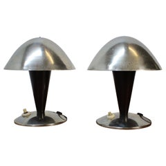 Pair of Chrome Bauhaus Table Lamps, 1930s