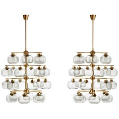 Pair of Midcentury Chandeliers with 24 Smoked Glass Shades by Holger Johansson