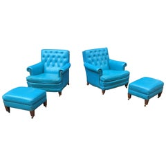 Pair of Aqua Blue Leather Chesterfield Club Chairs with Ottomans