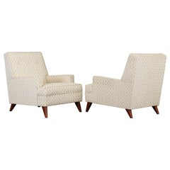 Pair of Robsjohn Gibbings Style Upholstered Lounge Chairs, 1950s