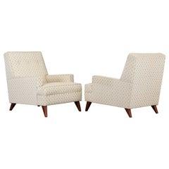 Pair of Robsjohn Gibbings Style Upholstered Lounge Chairs, 1950s