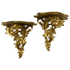Pair of Florentia Italian Carved Giltwood Wall Brackets Shelves