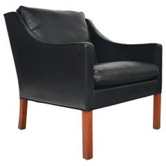 Borge Mogensen Model 2207 Black Leather Lounge Chair