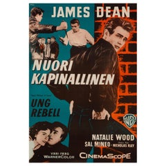 "James Dean ""Rebel Without A Cause"" Original Vintage Movie Poster, Finnish, 1956"