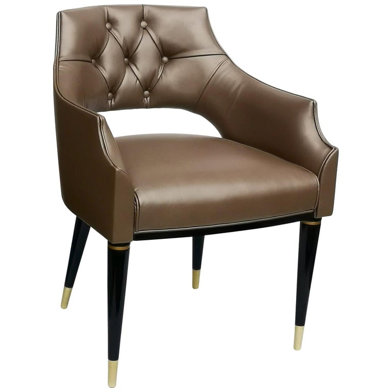 Dining Armchair, Tufted Fiore Italian Leather, Midcentury Style, Luxury Details For Sale