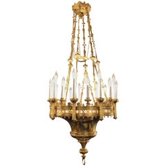 Antique Brass Great Cathedral Hall Fixture, circa 1870-1880