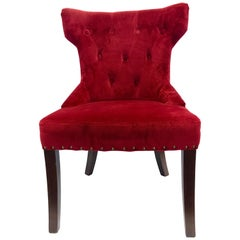 Pair of Custom Upholstered Nailhead Red Tufted Dining Chairs