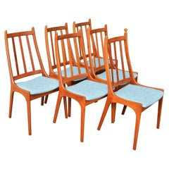 Set of 6 Solid Teak Comb Back Dining Chairs by Kai Kristiansen, Denmark, 1960s