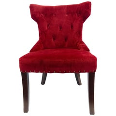 Set of Three Custom Upholstered Nailhead Red Tufted Dining Chairs