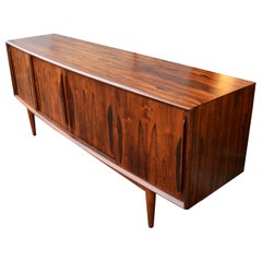 Arne Vodder Rosewood Bow Front Credenza with Teak Interior for HP Hansen
