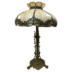 Arts & Crafts Sculpted Slag Glass Tiffany Style Table Lamp