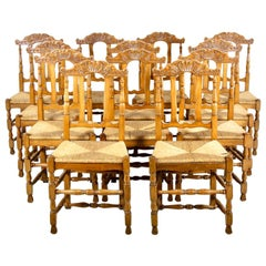 10 Matched Cherry Provencal Chairs