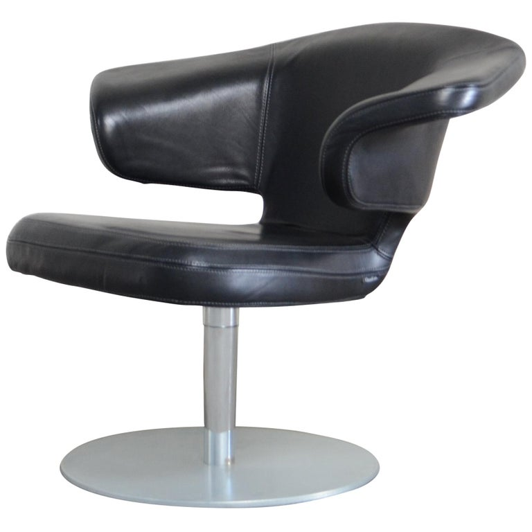 Rare Prototype of ClassiCon Munich Lounge Chair Black Leather For Sale