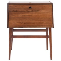 Stig Bolaget Malmo Swedish Rosewood Cutlery Cabinet with Cutlery Set