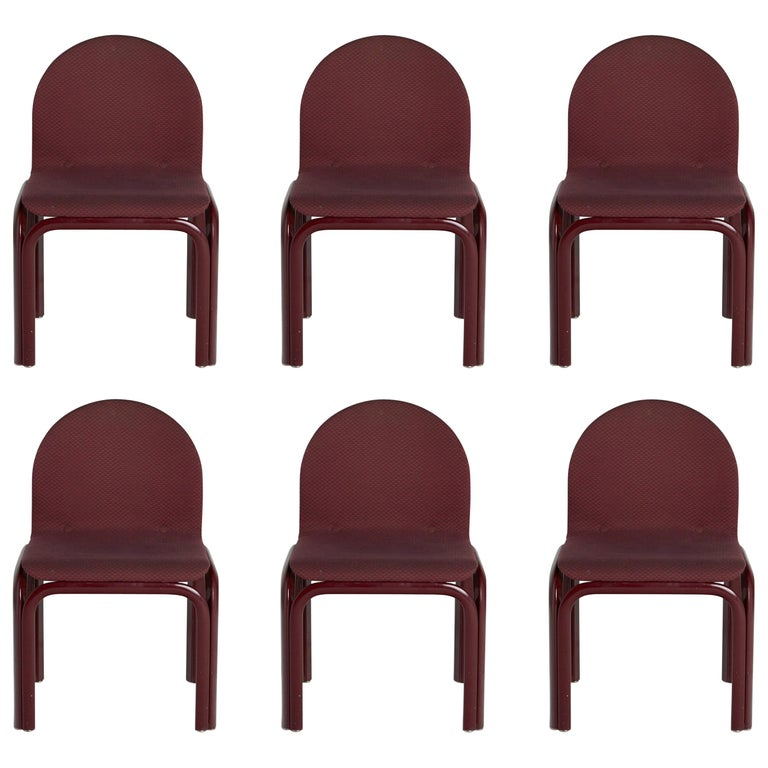 Set of Six Dining Chairs by Gae Aulenti for Knoll International, Signed, 1970s For Sale