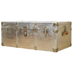 Early 20th Century Brass and Polished Aluminum Trunk with Leather Handles
