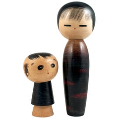 Pair of 1960s Modern Creative Kokeshi Dolls by Masao Watanabe, Japan