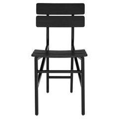 Ligne Roset Black Leather Contemporary Minimal Folk Chair by Ben Graindorge