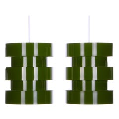 Green Pendants Fog & Mørup 1960s, Attractive Olive-Green Hanging Lamps, Pair