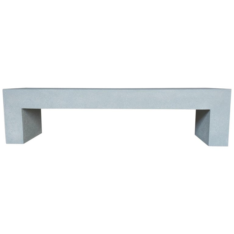 Cast Resin 'Aspen' Bench, Gray Stone Finish by Zachary A. Design For Sale