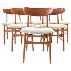 Set of Six Danish Midcentury Teak Dining Chairs by Sax