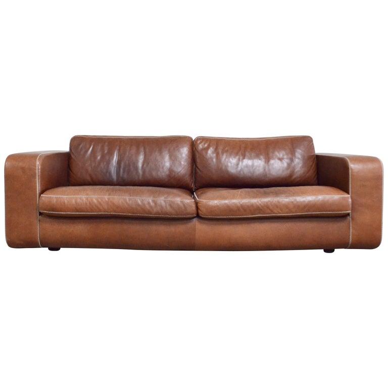 Machalke Cognac Leather Sofa Model Valentino For Sale At