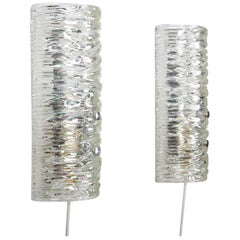 Glass Sconces Pair of 1960s Scandinavian Glass Wall Lamps
