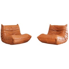 Original Ligne Roset Togo Cognac Aniline Leather Chair