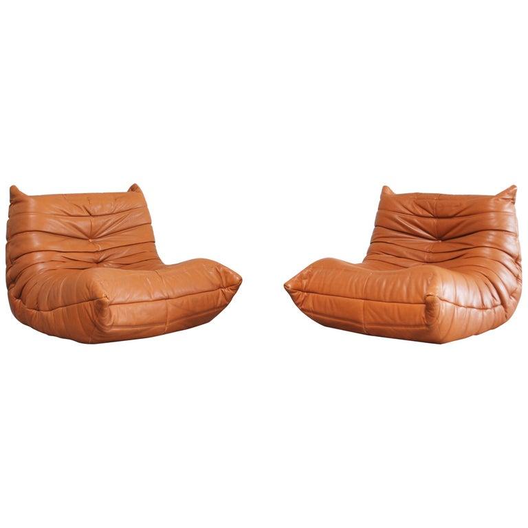 Original Ligne Roset Togo Cognac Aniline Leather Chair 1