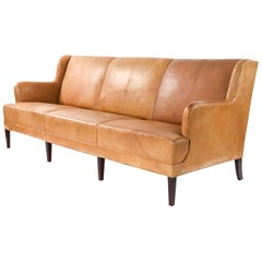 Three-Seat Leather and Mahogany Sofa by Frits Henningsen, 1930s