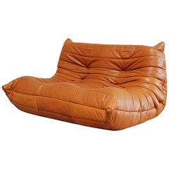 Original Ligne Roset Togo Cognac Brandy Aniline Leather Sofa