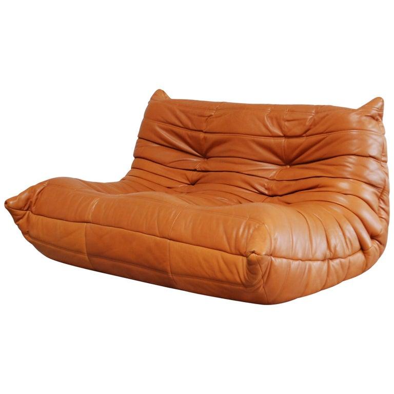 Original Ligne Roset Togo Cognac Brandy Aniline Leather Sofa 1