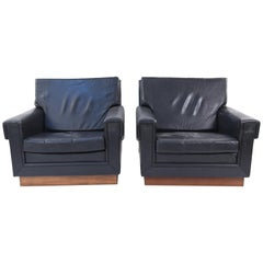 Pair of Jørgen Ryesberg Leather Lounge Chairs