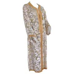 1970 Moroccan Caftan White and Gold Floral Silk Embroidered Kaftan