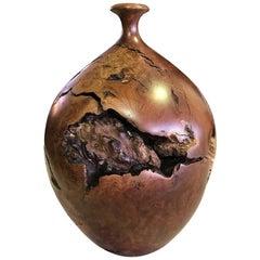 Hap Sakwa Chromplaketten Holz Vase gedreht