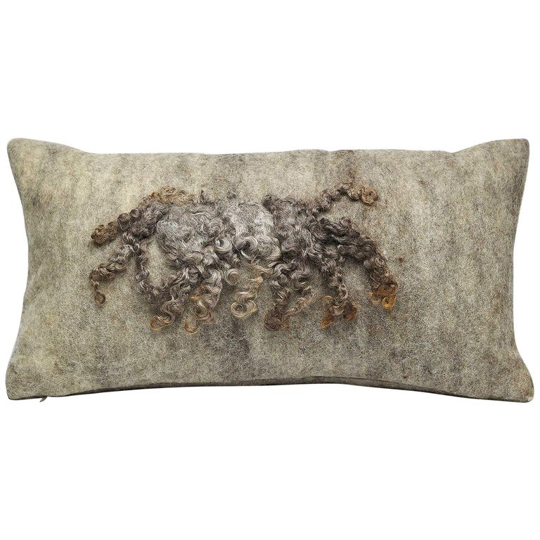 Wool Wensleydale Pillow Grey, Small - Heritage Sheep Collection For Sale