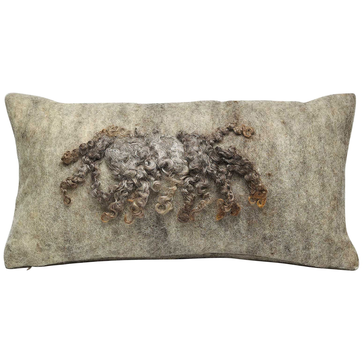 Wool Wensleydale Pillow Grey, Small - Heritage Sheep Collection