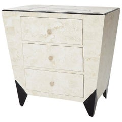"Postmodern Tessellated Stone ""Et Cetera"" 3-Drawer Side Table, 1990s"
