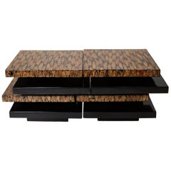 Contemporary Stacked 2-Part Coffee Table with Natural Fiber Inlay, 1990s